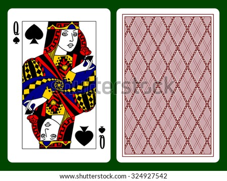 Queen of Spades playing card and the backside background - stock photo