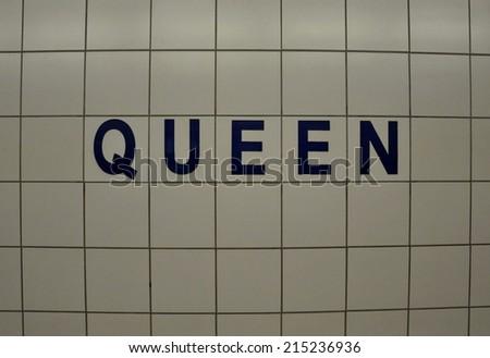 Queen street sign - stock photo