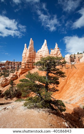 Queen Victoria formation from the Queen's Trail in Bryce Canyon. - stock photo