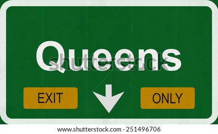 Queens New York City District Highway Road Sign Exit Only - stock photo