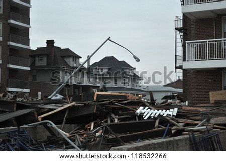QUEENS, NY - NOVEMBER 11: Damaged homes and aftermath recovery in the Rockaway area due to impact from Hurricane Sandy in Queens, New York, U.S., on November 11, 2012. - stock photo