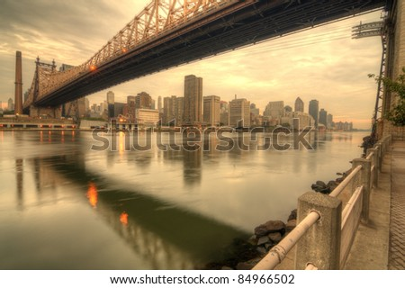 Queensboro Bridge spanning the East River in New York City. - stock photo