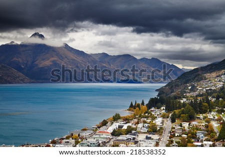 Queenstown cityscape and Wakatipu lake, South Island, New Zealand - stock photo