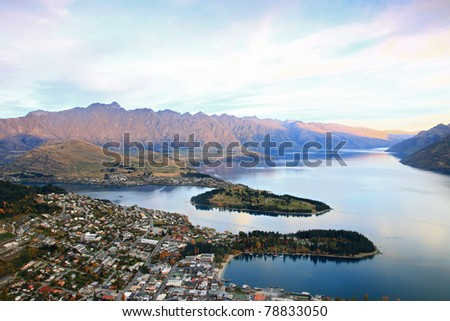 Queenstown downtown aerial view New Zealand
