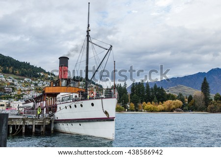 QUEENSTOWN, NEW ZEALAND-MAY 10, 2016 : A beautiful old world steamship name TSS Earnslaw in Queenstown, New zealand from a port - stock photo