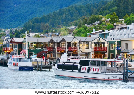 QUEENSTOWN, NZ - Nov 17:Aerial view of Queenstown on November 17 2014.It's one of the most popular travel destination in New Zealand known for it's restaurants, ski tourism and extreme sport adventure - stock photo