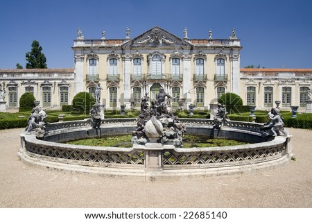 Queluz national palace. Sintra municipality, in the District of Lisbon. Portugal.