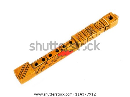 Quena flute. Typical wooden flute of the Andes in South America - stock photo