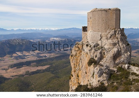 Queribus Castle in Aude, Languedoc-Roussillon, France. - stock photo