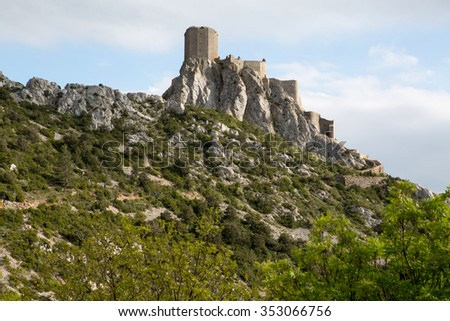 Queribus Cathar Castle building in France - stock photo