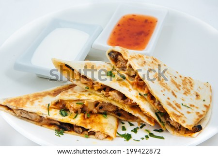 Quesadilla on a plate. Mexican. A kind of tortilla. Latin cuisine