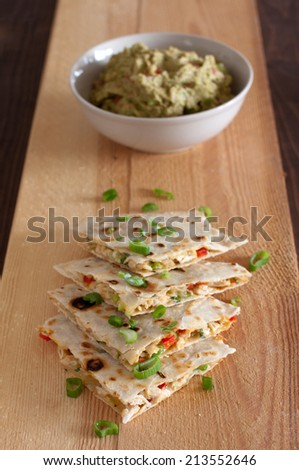 quesadillas with guacamole - stock photo