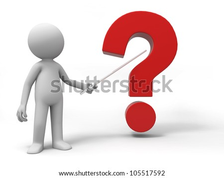 question/A man is explaining the question - stock photo