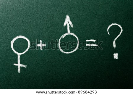 Question about male and female relation on green blackboard