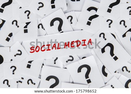 Question about the social media with many question marks - stock photo