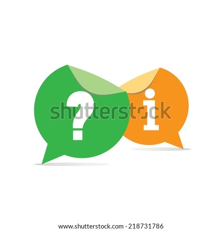 question and answer on speech bubble design. - stock photo