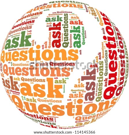 Question and ask info-text graphics and arrangement concept on white background (word cloud) - stock photo