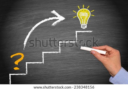 Question and great Idea - Business and performance concept - stock photo