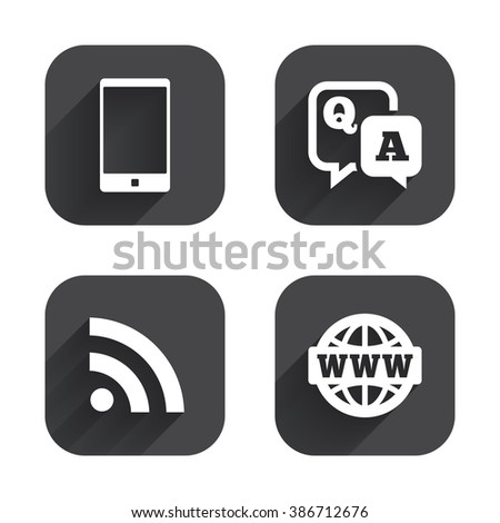 Question answer icon. Smartphone and Q&A chat speech bubble symbols. RSS feed and internet globe signs. Communication Square flat buttons with long shadow. - stock photo