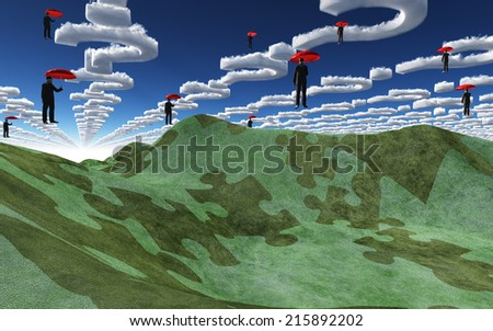 Question clouds over surreal landscape - stock photo