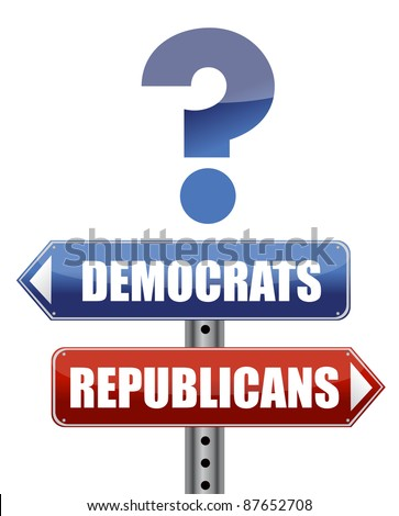 question Democrats and Republicans illustration design - stock photo