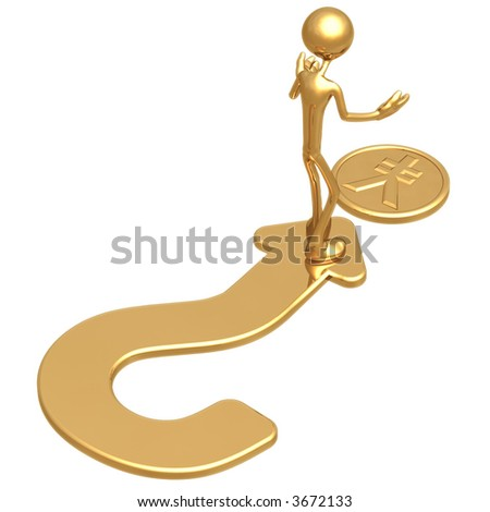 Question Direction Gold Yen Coin - stock photo