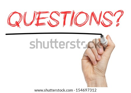 Question handwritten with marker on a whiteboard - stock photo