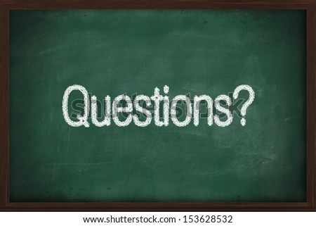 Question handwritten with white chalk on a blackboard - stock photo