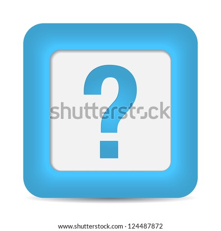 question icon on blue button. - stock photo