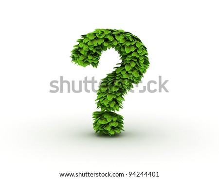 Question mark,  alphabet of green leaves - stock photo