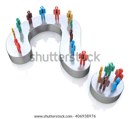 Question Mark and colorful 3d people.3D Illustration - stock photo
