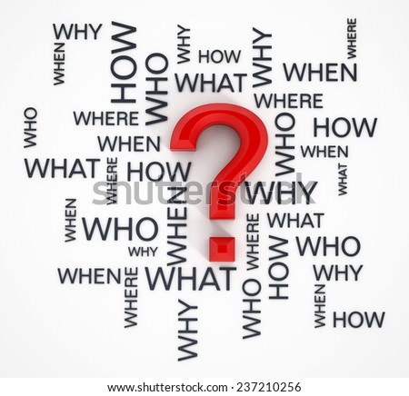 Question mark and question words on white surface. - stock photo