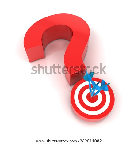 Question mark and target, 3d render, white background - stock photo