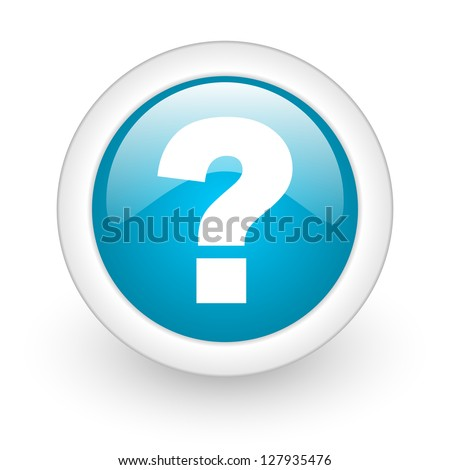 question mark blue circle glossy web icon on white background - stock photo