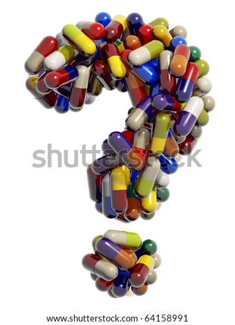 Question mark created of medical pills, 3d - stock photo