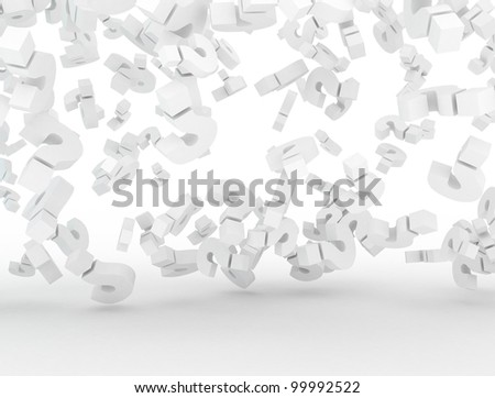 Question mark falling 3d background - stock photo