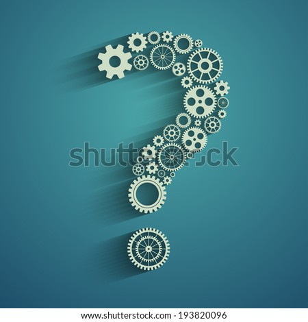 Question mark from gears - stock photo