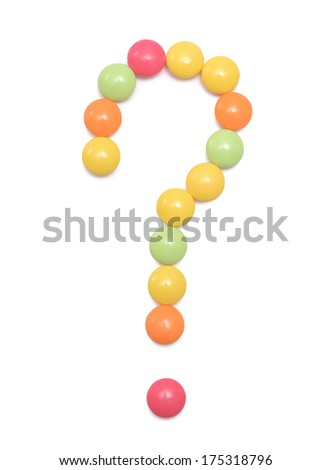 Question mark from pills isolated on white background - stock photo
