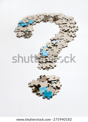 Question mark from puzzle - stock photo