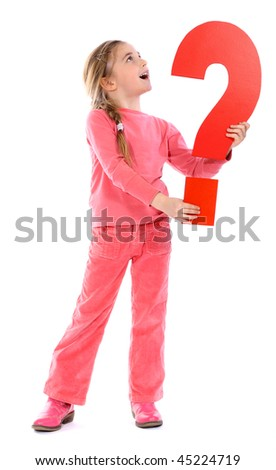 question mark girl - stock photo