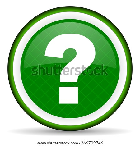 question mark green icon ask sign  - stock photo