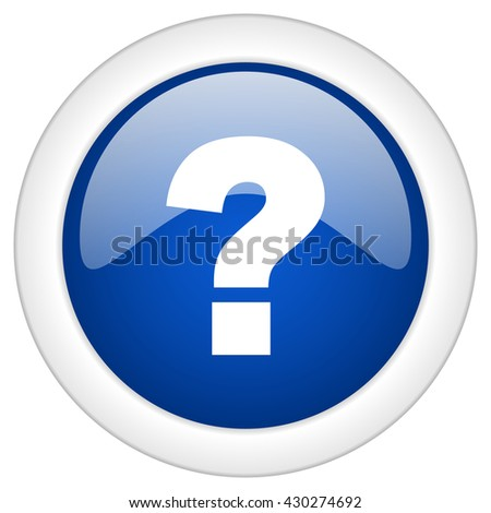 question mark icon, circle blue glossy internet button, web and mobile app illustration