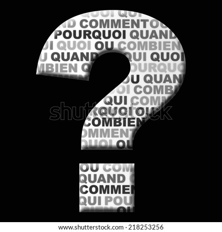 Question mark icon with the following words Inside: who, where, when, how, why, in french - stock photo