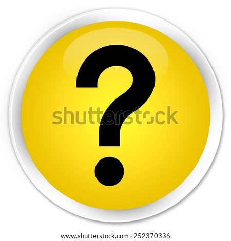 Question mark icon yellow glossy round button - stock photo