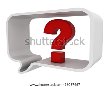 Question mark in speech bubble isolated on white background