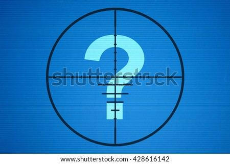 Question mark in the center of the target on blue background - stock photo