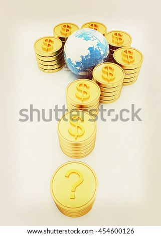 Question mark in the form of gold coins with dollar sign on a white background. 3D illustration. Vintage style. - stock photo