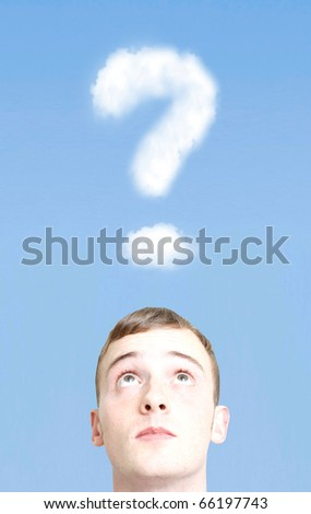 Question mark in the sky - stock photo