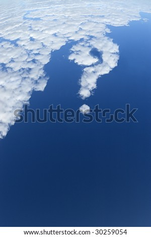 Question mark made of clouds in the blue sky. - stock photo