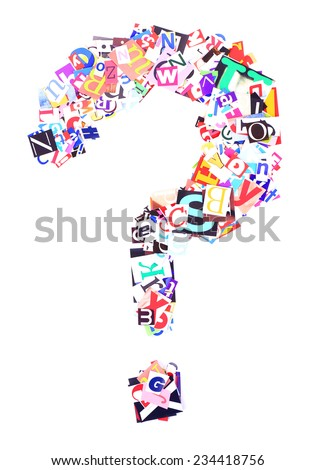 Question mark made of colorful newspaper letters isolated on white - stock photo